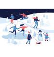 people having winter activities in park skiing vector image vector image