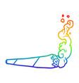 rainbow gradient line drawing marijuana joint vector image vector image