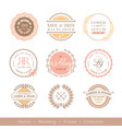 retro pastel wedding logo frame badge design vector image