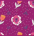 retro stylized roses tulips and branches on dotted vector image vector image