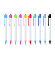 set automatic ballpoint pens in white case vector image vector image