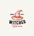spooky party witches with brooms halloween logo vector image vector image