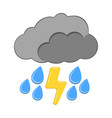 thunder and rain with cloud icon weather label vector image vector image