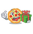 with gift margherita pizza isolated with the vector image vector image
