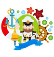 with the captain clipart on the sea theme vector image