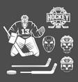 ice hockey goalie elements vector image