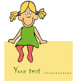 cute funny girl is siting on the card vector image