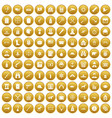 100 bullet icons set gold vector image vector image