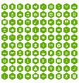 100 dish icons hexagon green vector image vector image