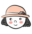 a girl wearing a pink hat looks cute or color vector image