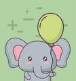 birthday card with cute elephant kawaii character vector image