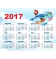 Blue Rooster on snowboard Calendar with cock vector image vector image
