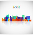 boise skyline silhouette in colorful geometric vector image vector image
