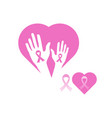 breast cancer awareness ribbon icon symbol vector image vector image