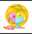 cartoon melting ice cream vector image vector image