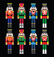 Christmas nutcracker - soldier figurine icons set vector image vector image