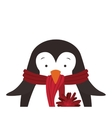 christmas penguin icon vector image vector image