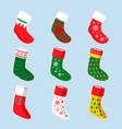 christmas socks design set vector image