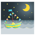 colorful paper ship sailing on the sea vector image vector image