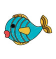 cute fish pet icon vector image