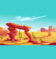 desert arch and tumbleweed on natural landscape vector image