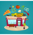 Diner building concept with pizza and vegetables vector image vector image