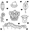 doodle chinese new year vector image vector image