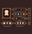 fantasy game character generation interface vector image vector image