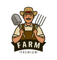 farm logo or label agriculture farmer vector image vector image