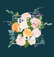 floral design with colorful pink white and orange vector image