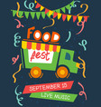 food festival with live music poster vector image vector image