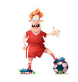 funny cute cartoon football player vector image