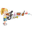 girl playing violin with music notes in background vector image vector image