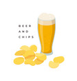 glass beer and potato chips pile vector image