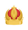 golden emperor ancient crown with red velvet vector image vector image