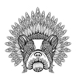 Hand Drawn French Bulldog in Feathered War bonnet vector image vector image