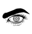 hand drawn realistic of human eye with compass vector image