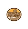 Horse-Drawn Carriage Intramuros Woodcut Retro vector image