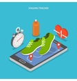 Jogging and running flat isometric concept vector image vector image