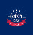 labor day sale hand lettering background vector image