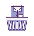 laundry basket with clothes vector image vector image