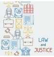Law and justice icons seamless pattern in flat vector image vector image