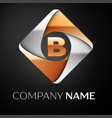 letter b logo symbol in the colorful rhombus on vector image vector image