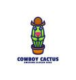 logo cactus mascot cartoon style vector image