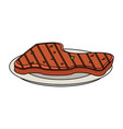 meat on dish vector image vector image