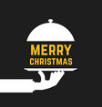 merry christmas text like serving hand vector image vector image