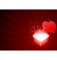 open red gift present as heart with fly hearts vector image vector image