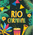 party banner with drum and trumpet to carnival vector image