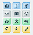photo icons set with wb sunny healing effect and vector image