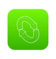 refresh icon green vector image